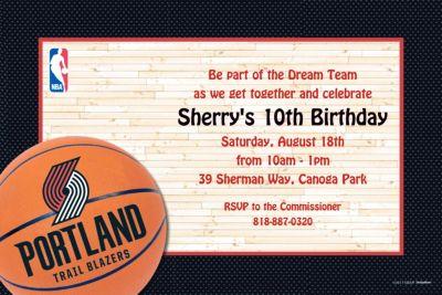 Portland Trail Blazers Custom Invitation