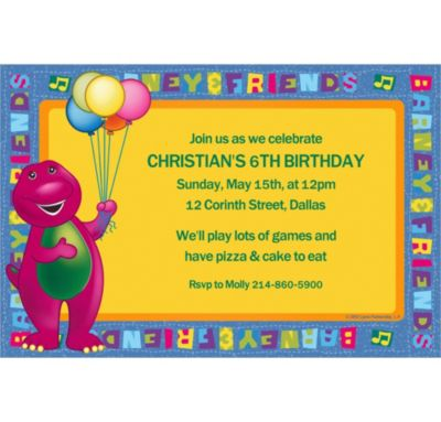 Custom Barney Invitations
