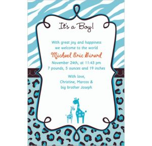 Custom Blue Safari Birth Announcements