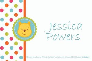 Custom Winnie the Pooh Baby Shower Thank You Notes