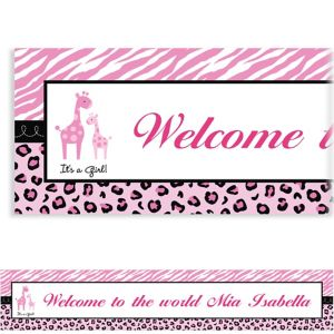 Custom Pink Safari Baby Shower Banner 6ft