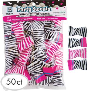 Pink & Black Zebra Pillow Mints 50ct