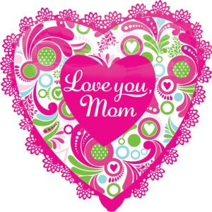 Foil Pink Trim Mother's Day Heart Balloon 27in