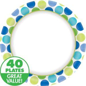 Blue Dots Dinner Plates 40ct