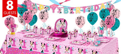 1st Birthday Minnie Mouse Super Party Kit for 8 Guests