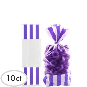 Purple Striped Treat Bags 10ct