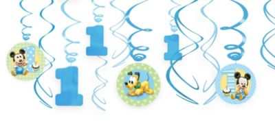 1st Birthday Mickey Mouse Swirl Decorations 12ct
