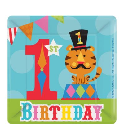 1st Birthday Fisher-Price Circus Dessert Plates 8ct