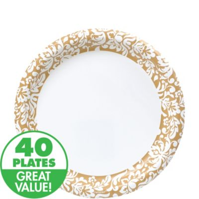 Gold Damask Heavy Duty Lunch Plates 40ct