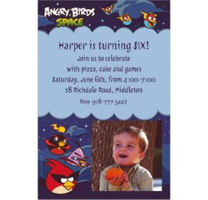 Custom Angry Birds Space Photo Invitations