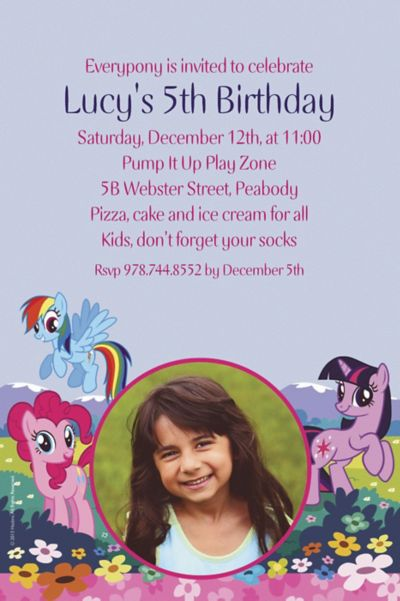 Custom My Little Pony Friends Photo Invitations