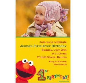 Custom Elmo 1st Birthday Photo Invitations
