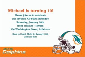 Custom Miami Dolphins Invitations