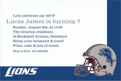 Detroit Lions Custom Invitation