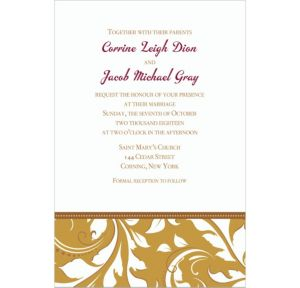 Custom Golden Wedding Invitations