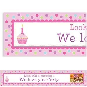 Custom Sweet Little Cupcake Girl Photo Banner 6ft
