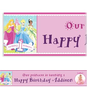 Custom Disney Princess 1st Birthday Photo Banner 6ft