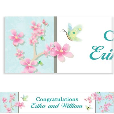 Custom Cherry Blossom Love Wedding Banner 6ft