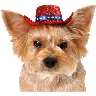 Red Sequin Dog Cowboy Hat
