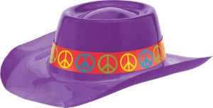 Purple Peace Sign Cowboy Hat