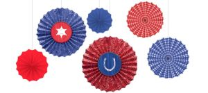 Bandana Western Paper Fan Decorations 6ct