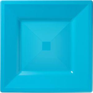 Caribbean Blue Premium Plastic Square Dinner  Plates 10ct
