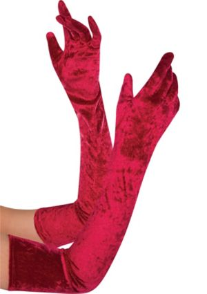 Adult Extra Long Red Velvet Gloves