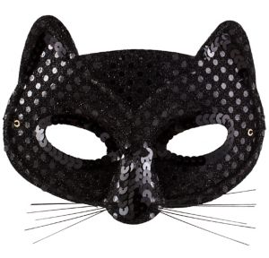 Black Sequin Cat Mask
