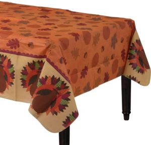 Thanksgiving Dinner Flannel-Backed Vinyl Table Cover