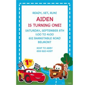 Custom Cars 1st Birthday Invitations