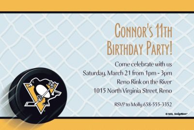 Pittsburgh Penguins Custom Invitation