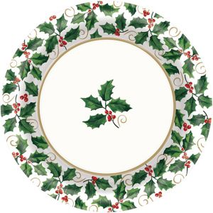 Seasonal Holly Dinner Plates 40ct