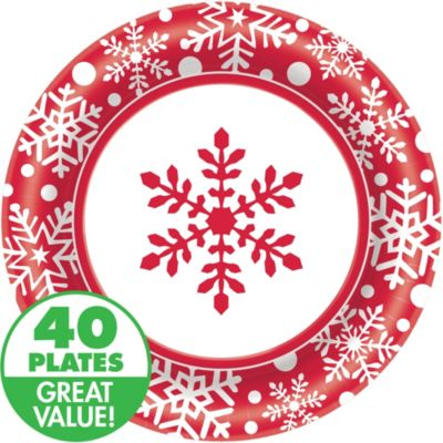 Winter Holiday Dinner Plates 40ct