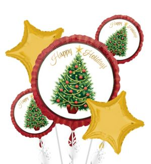 Christmas Balloon Bouquet 5pc - Twinkling Tree
