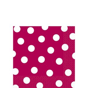 Raspberry Polka Dot Beverage Napkins 16ct