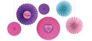Disney Princess Paper Fan Decorations 6ct