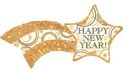 Happy New Year Balloon - Shooting Star