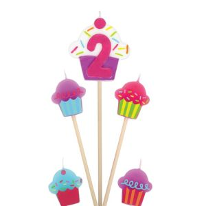 Number 2 Cupcake Birthday Toothpick Candles 5ct