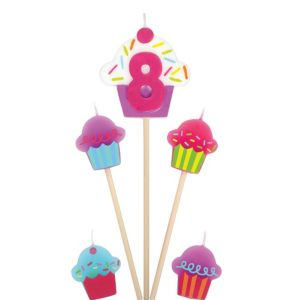 Number 8 & Cupcake Candle Picks 5ct