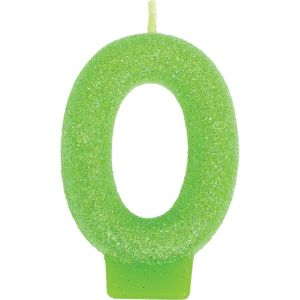 Glitter Kiwi Green Number 0 Birthday Candle