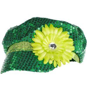 Green Sequin Mod Cap