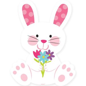 Easter Bunny with Flowers Cutout