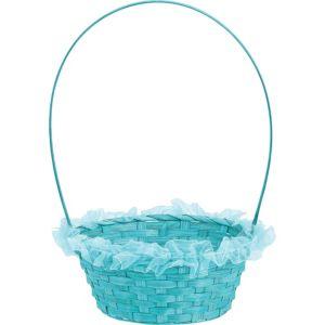 Aqua Ruffled Bamboo Easter Basket