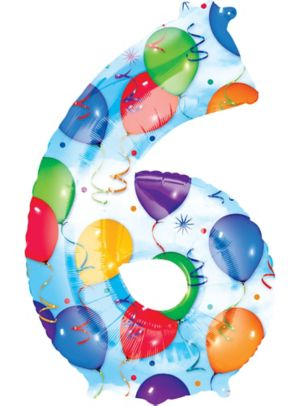 Giant Celebration Number 6 Balloon 22in X 34in Party City