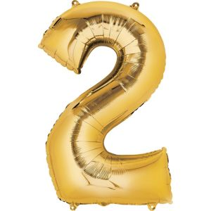 Number 2 Balloon - Gold