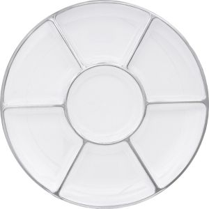 Silver Trimmed White Plastic Sectional Platter