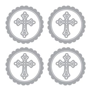 Silver Religious Sticker Labels 20ct