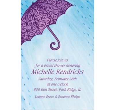 Filigree Umbrella Custom Bridal Shower Invitation