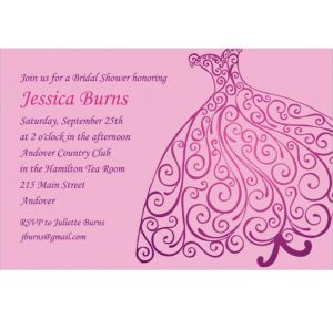 Custom Quilled Bridal Gown Bridal Shower Invitations