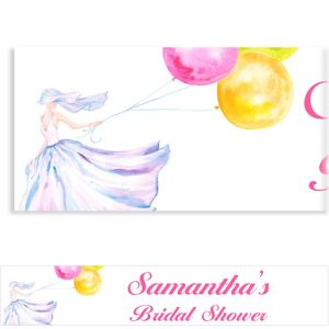 Custom Bride with Balloons Bridal Shower Banner 6ft